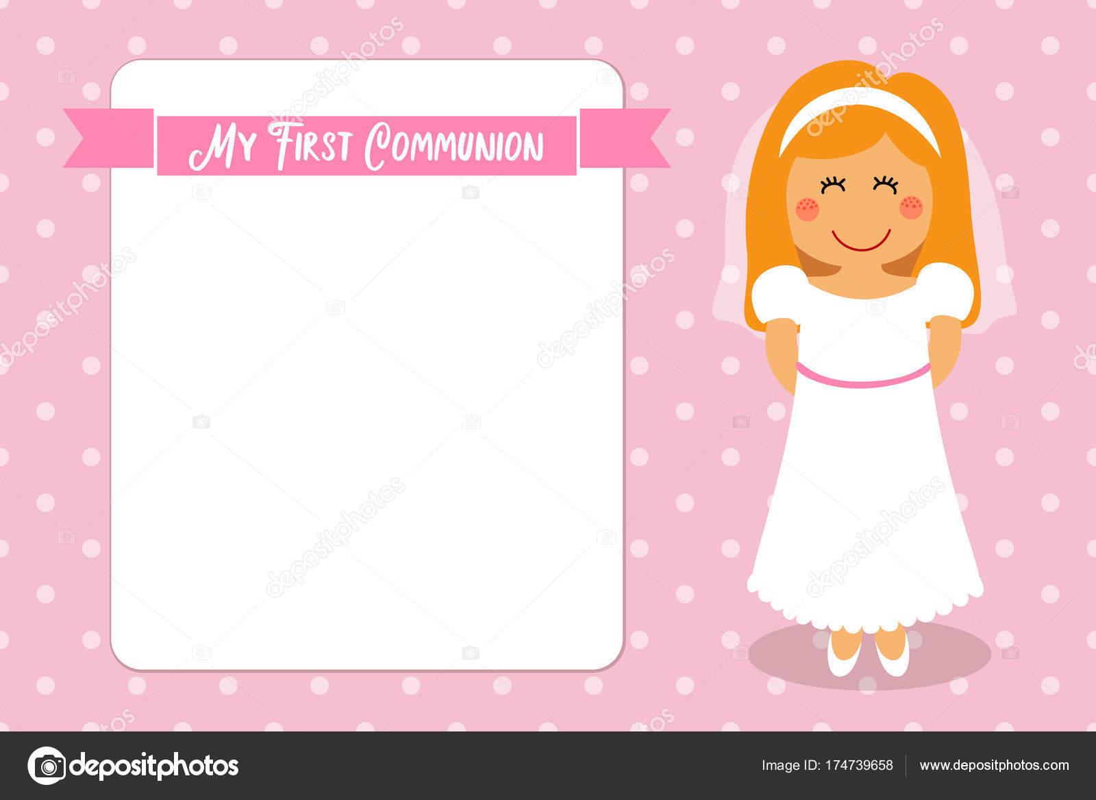 32ade38ed94 Linda tarjeta de primera comunión para niñas — Archivo Imágenes Vectoriales