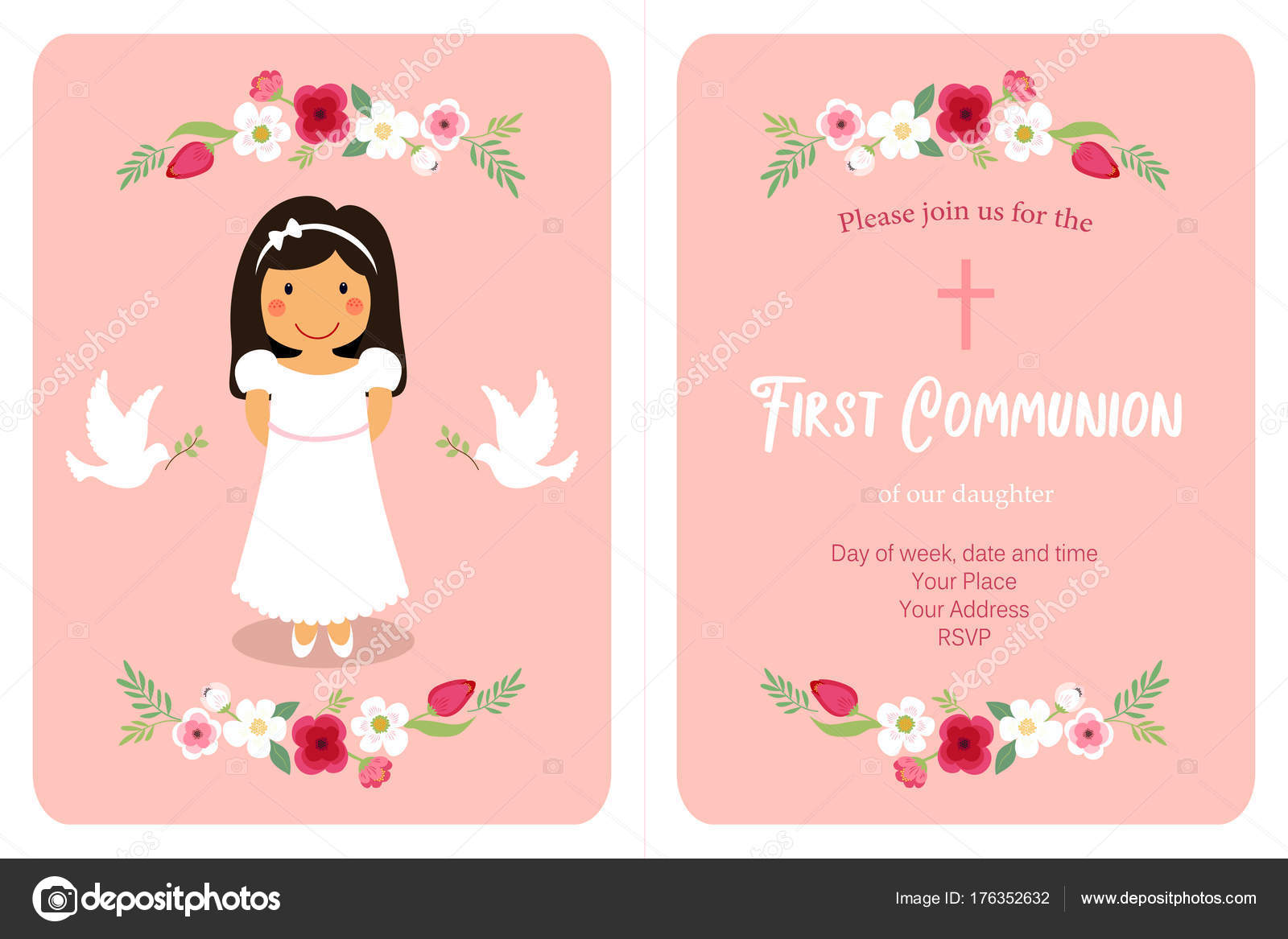 picture about First Communion Cards Printable named Printable catholic very first communion playing cards Adorable Initial