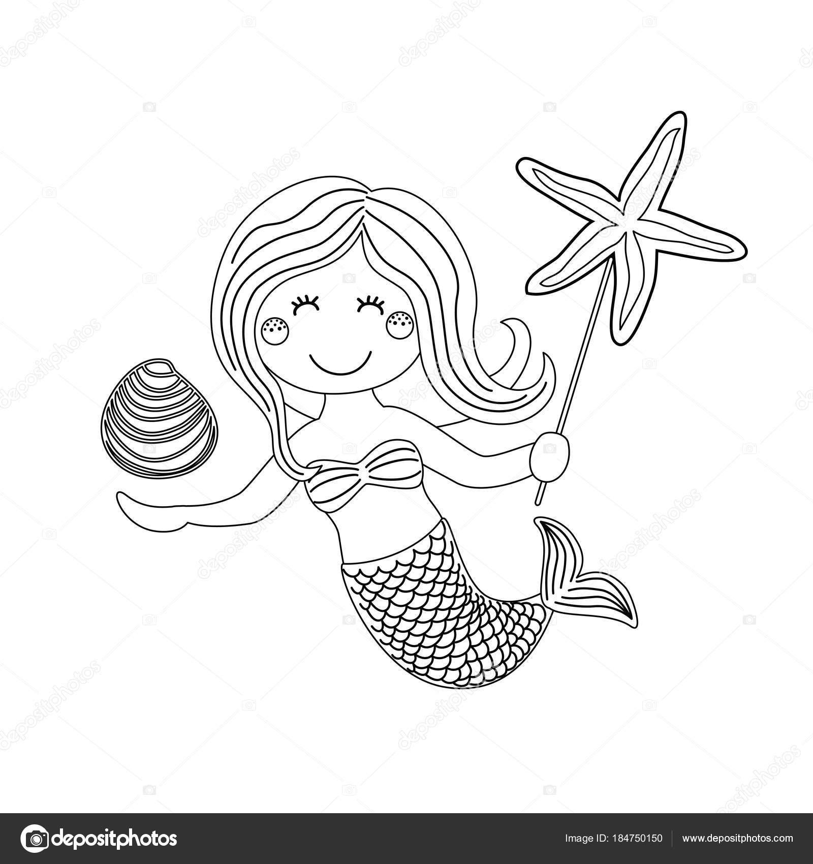 şirin çocukça Elle çizilmiş Karikatür Karakteri Ile Deniz Deniz