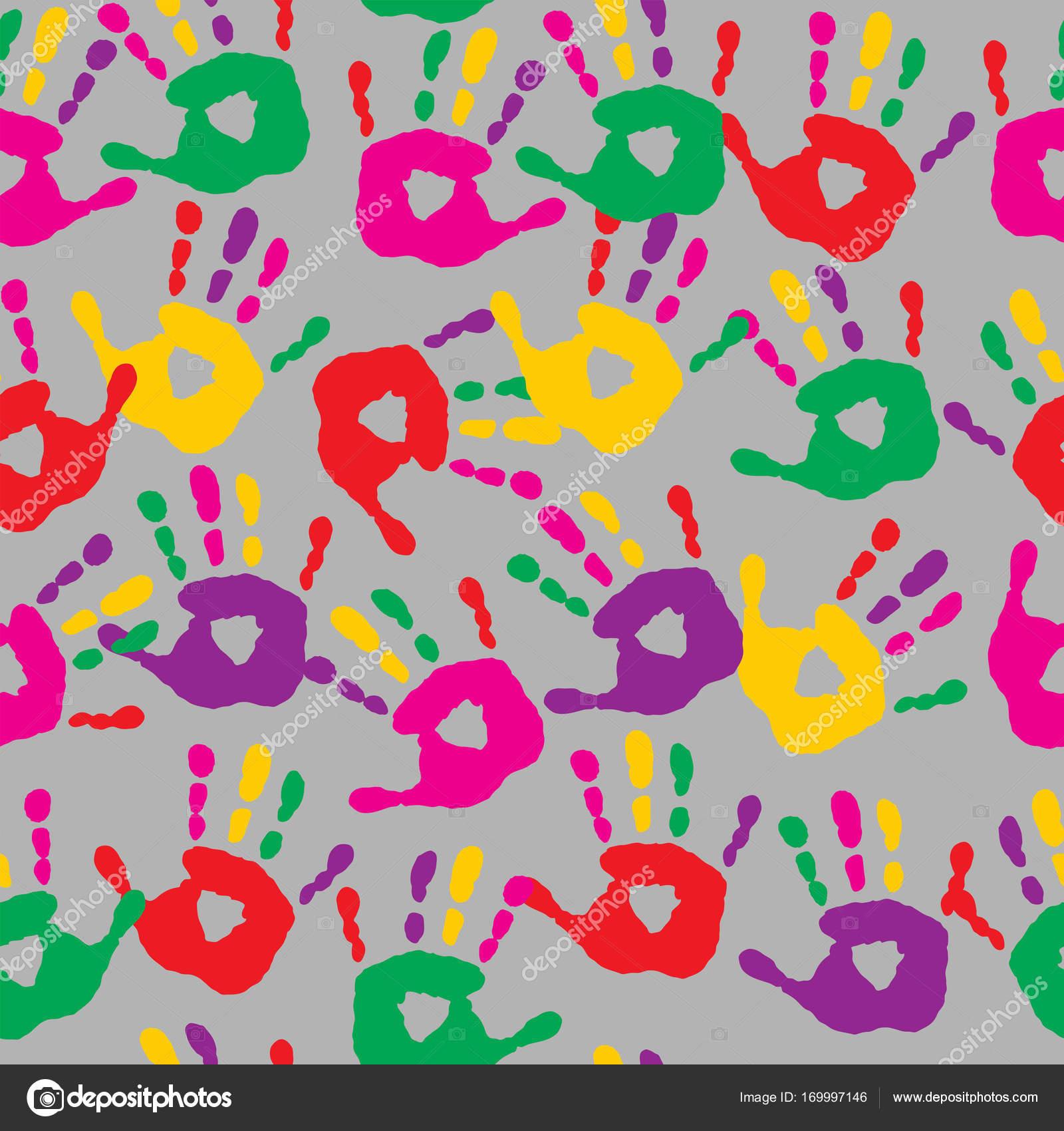 aba608d900 Struttura astratta dalle impronte di mani colorate — Vettoriali ...