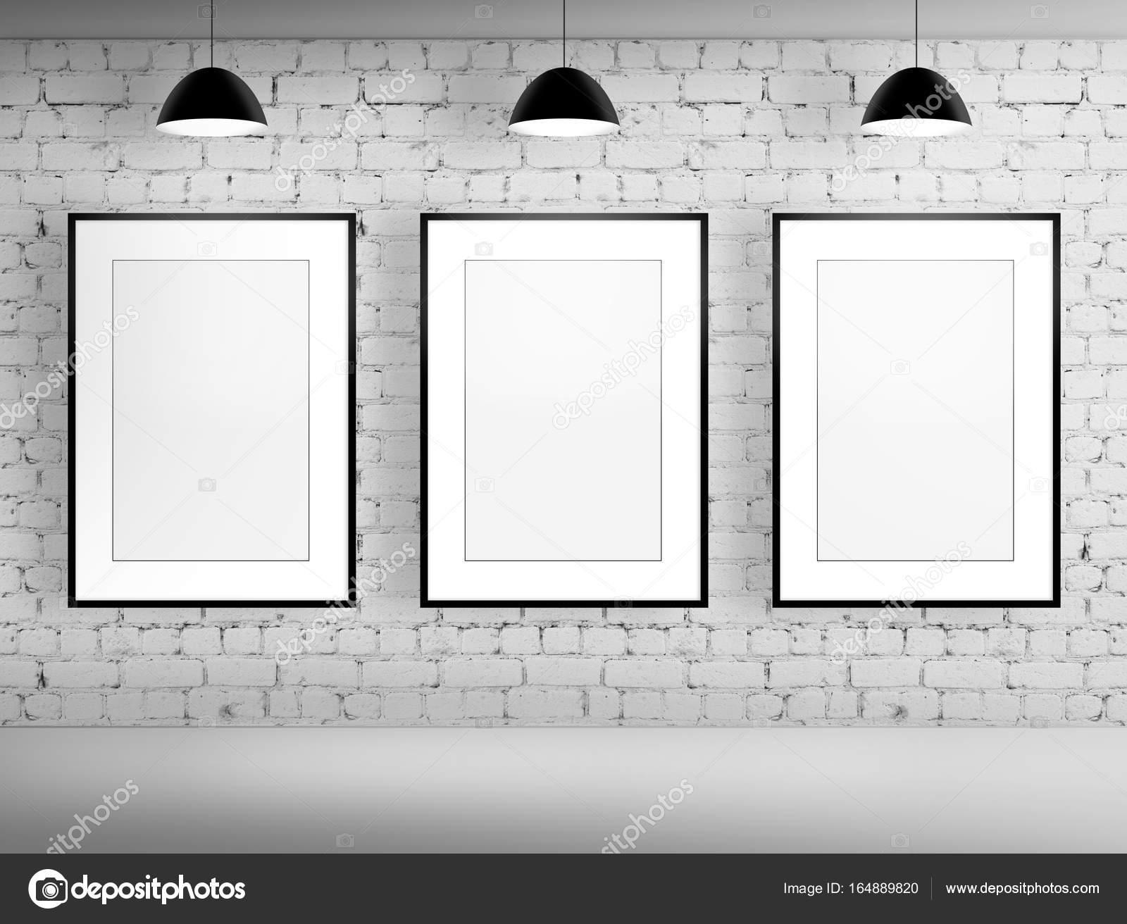 three blank frame in brick room — Stock Photo © vierra #164889820