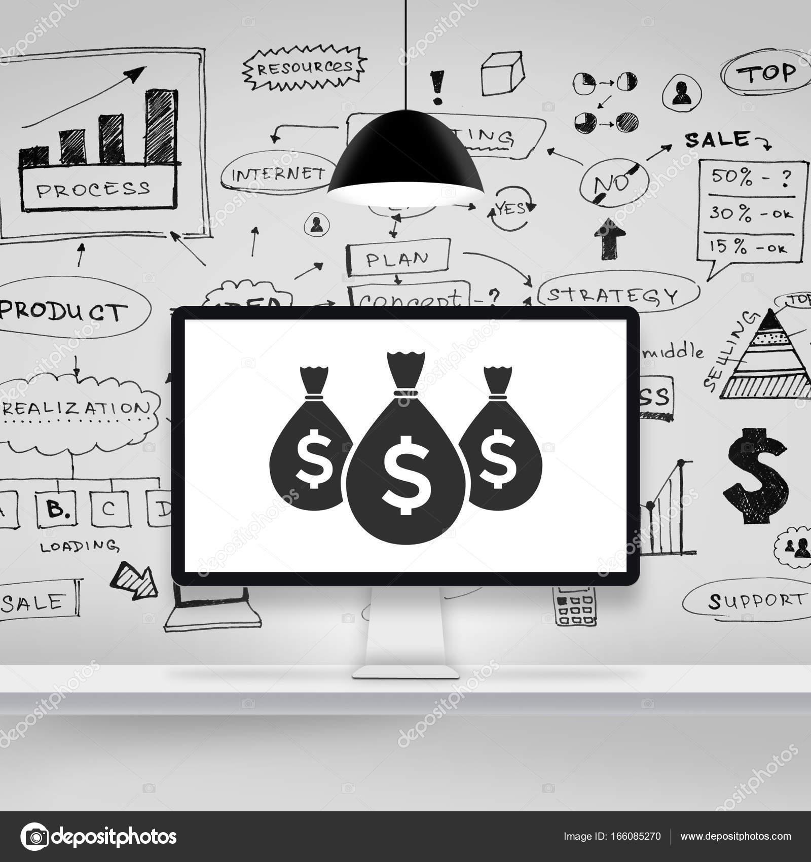 Computer mit der Geschäftsstrategie auf Wand — Stockfoto © vierra ...