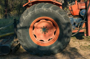 Close up of bulldozer wheel