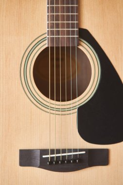 Acoustic guitar. Musical instrument. Fretboard acoustic guitar