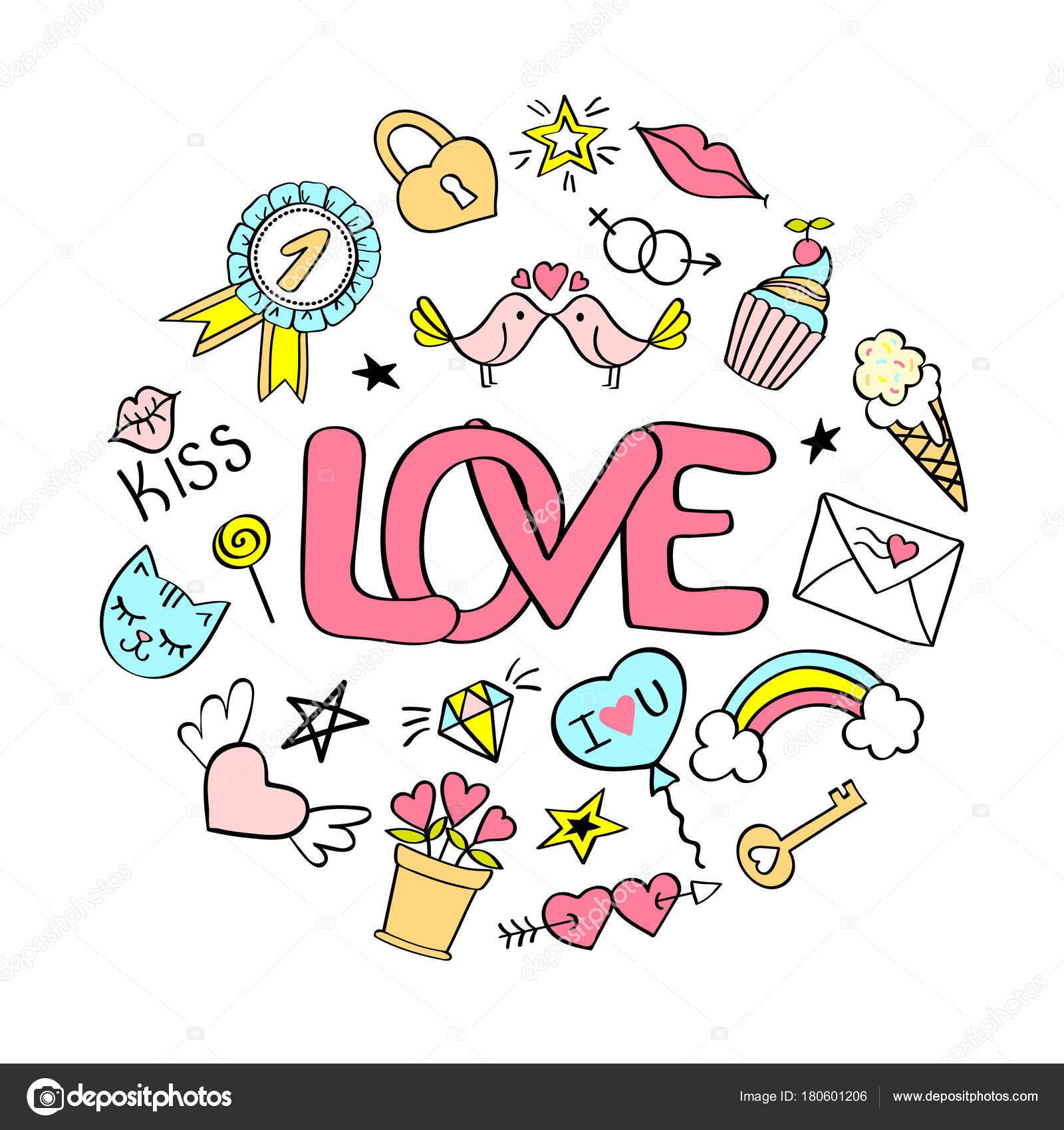 Liebe Schriftzug Mit Girly Doodles Fur Valentinstag Kartendesign