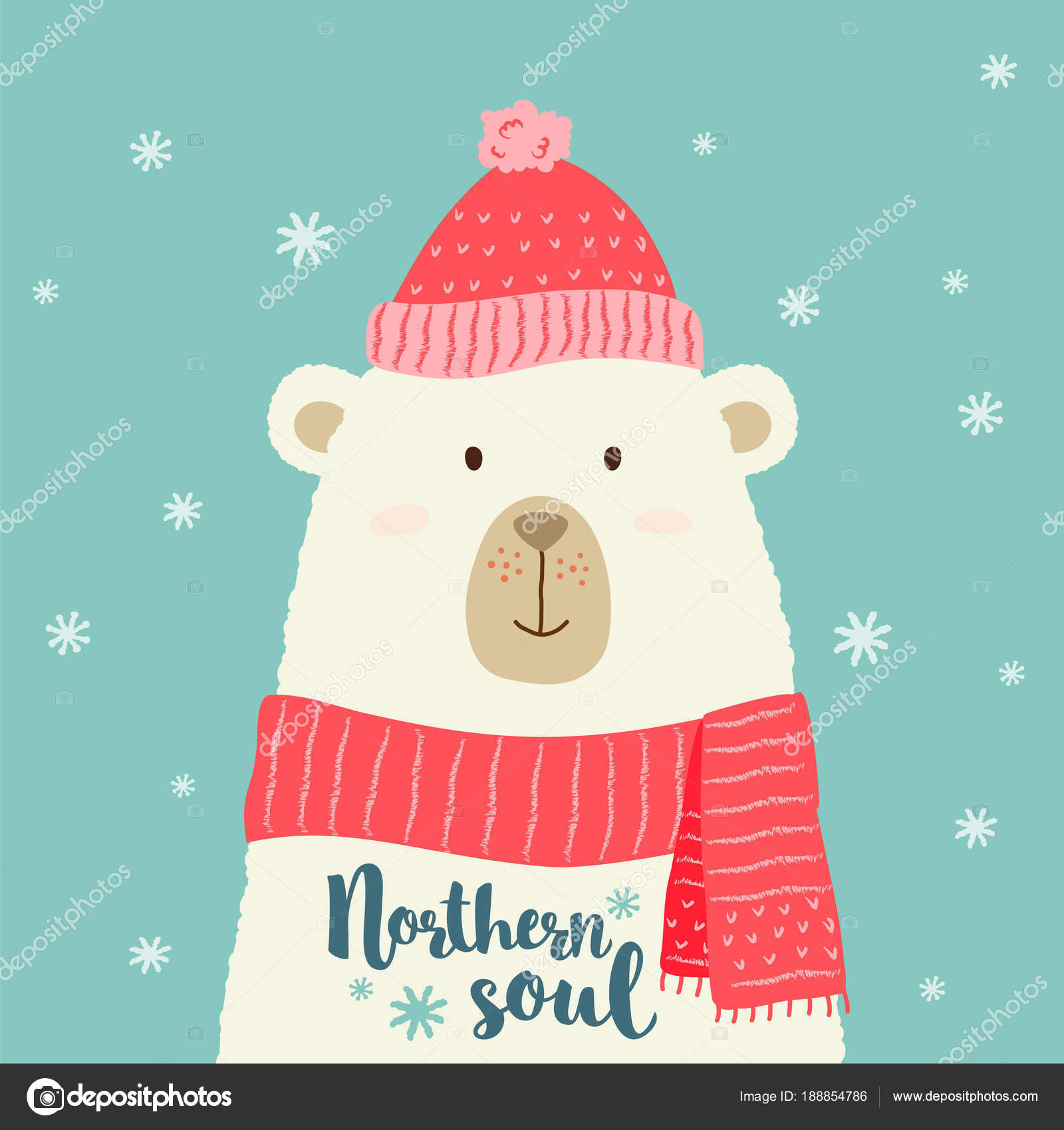 Vector Illustration Of Cute Cartoon Bear In Warm Hat And Scarf With