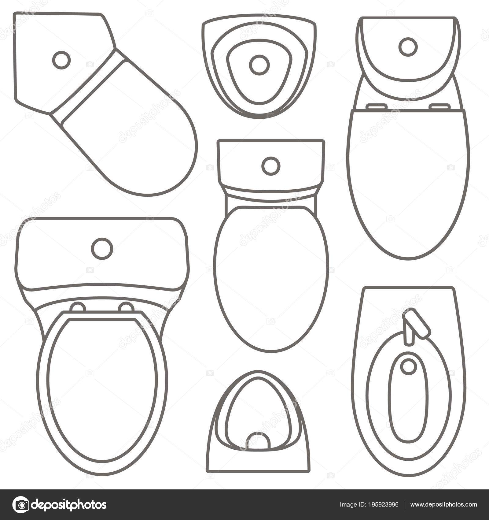 Toilet Equipment Top View Collection For Interior Design Vector