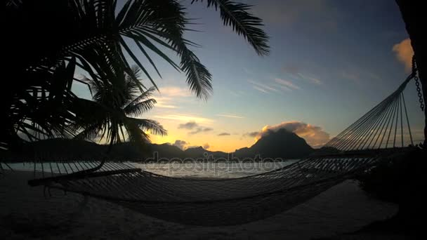 Hammock on the beach at sunrise