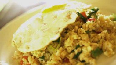 rice Nasi Goreng displayed with garnish