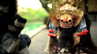 ceremonial dragon and  monkey masks