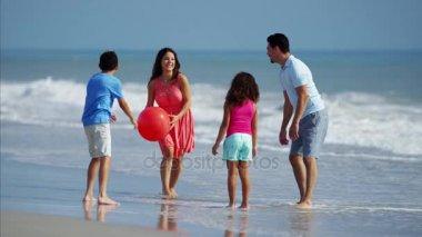 family having fun with ball