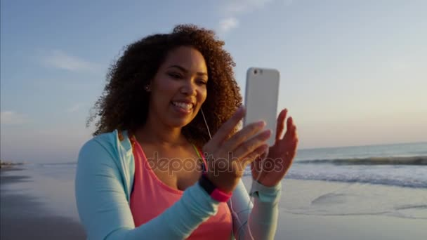 female using on a smart phone