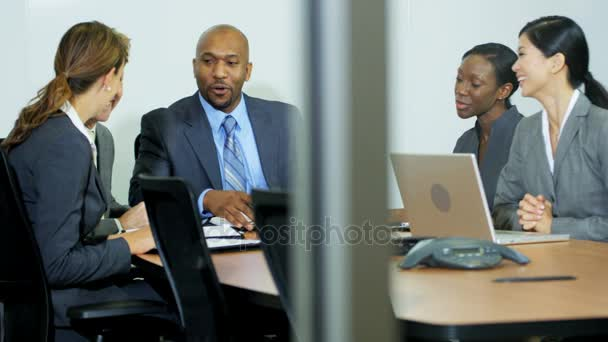 business executive leading meeting