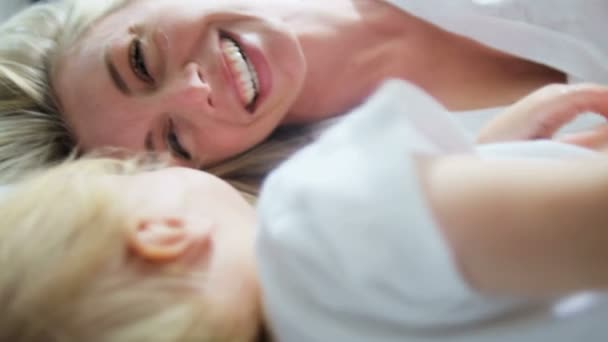 boy having fun with mother