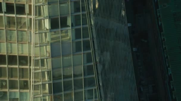 London UK - November 2017: Aerial view at sunrise close up The Shard pyramidal tower glass panel reflections Southwark London England United Kingdom