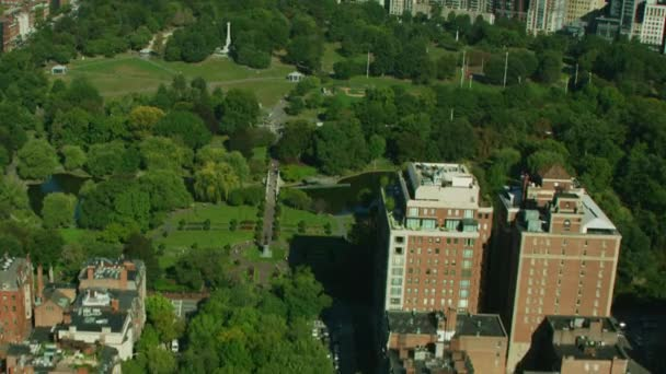Luftaufnahme der Boston Public, Garten Commonwealth Avenue downtown Financial-Geschäft Bezirk Metropolitan Wolkenkratzer Main Kanal Massachusetts
