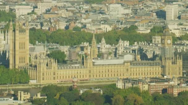 Aerial Sonnenaufgang London Stadtbild Big Ben Häuser von Parlament Palast von Westminster River Thames England Uk