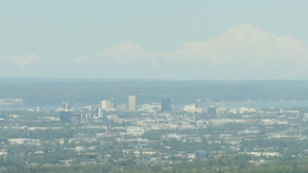 Aerial landscape city view of downtown buildings Fairbanks Mt McKinley Denali mountain Alaska Range America