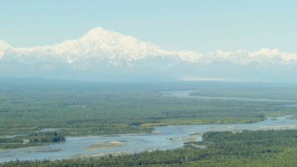 Aerial view of Mt McKinley Alaskan Range State Park Landscape in remote Wilderness area Southern Alaska North Pacific ocean USA
