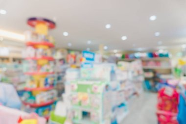 Blur modern baby and kid deparment  store shop bright tone abstract blurry background.