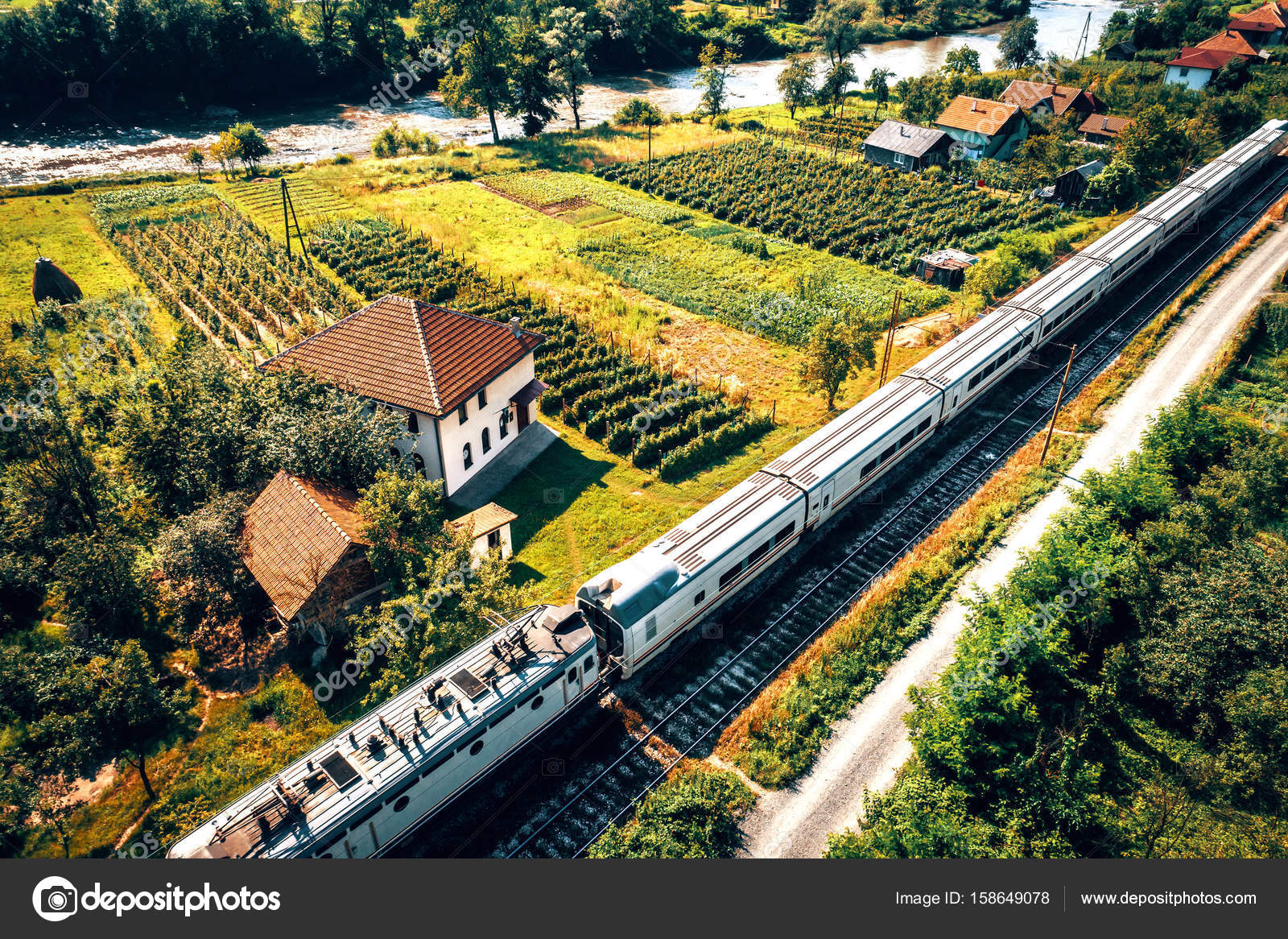 Aerial view of train and masjid in Bosnia — Stock Photo ...