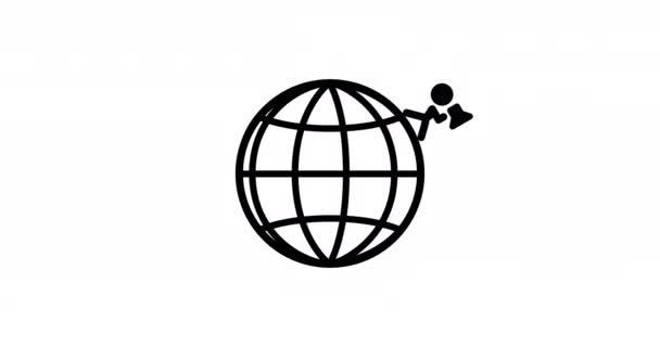 2d Animation der Erde Globus Stickman geht mit Megafon.