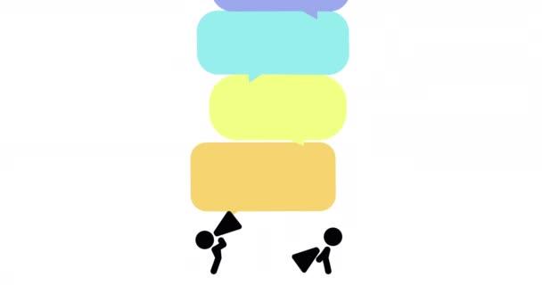 2d Animation von zwei Strichmännchen, die fliegende Sprechballons sprechen.