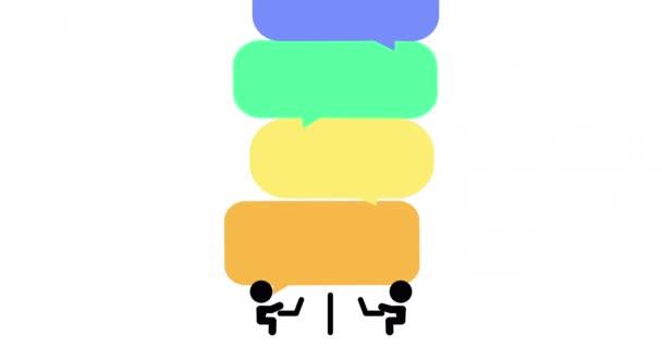 2d Animation von zwei Strichmännchen kommunizieren fliegende Sprechballons, verschickte E-Mails, Konferenz.