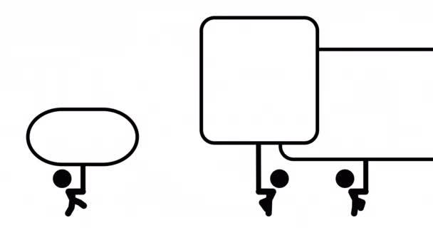 Animation von stickman gehen mit mit banner