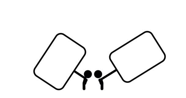 Animation des Strichmännchens mit Banner und Händeschütteln
