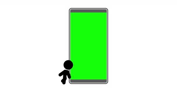 Animation des Stickman-Symbols mit Mobiltelefon, Touchscreen