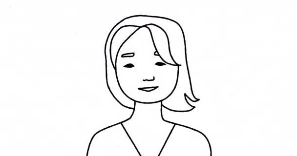 2D animációs portré egy fiatal nőről és férfiról, akik beszélgetnek. Szolgáltatások, tájékoztatás vagy blog.