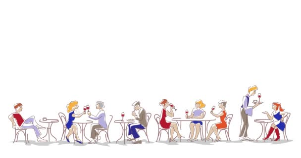 Animation of fashion people, men and women, sitting, eating and drinking wine in the cafe. Characters set.