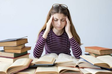 Student studying on the table