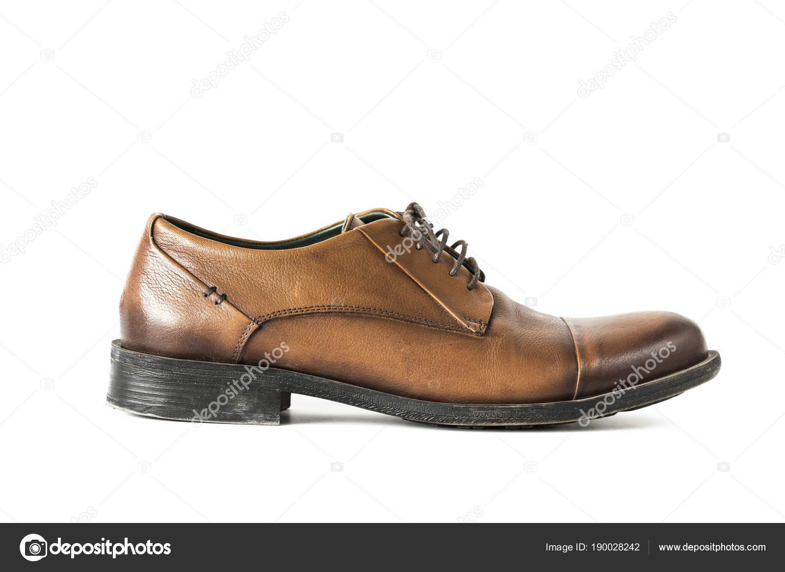 805dc286b7 Zapatos Hombre Casual Cuero Marrón Aislado Fondo Blanco — Fotos de Stock