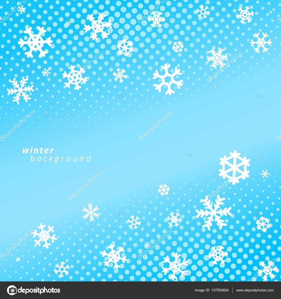 Fiocchi Di Neve Su Sfondo Blu Cielo Disegno Di Vettore Di