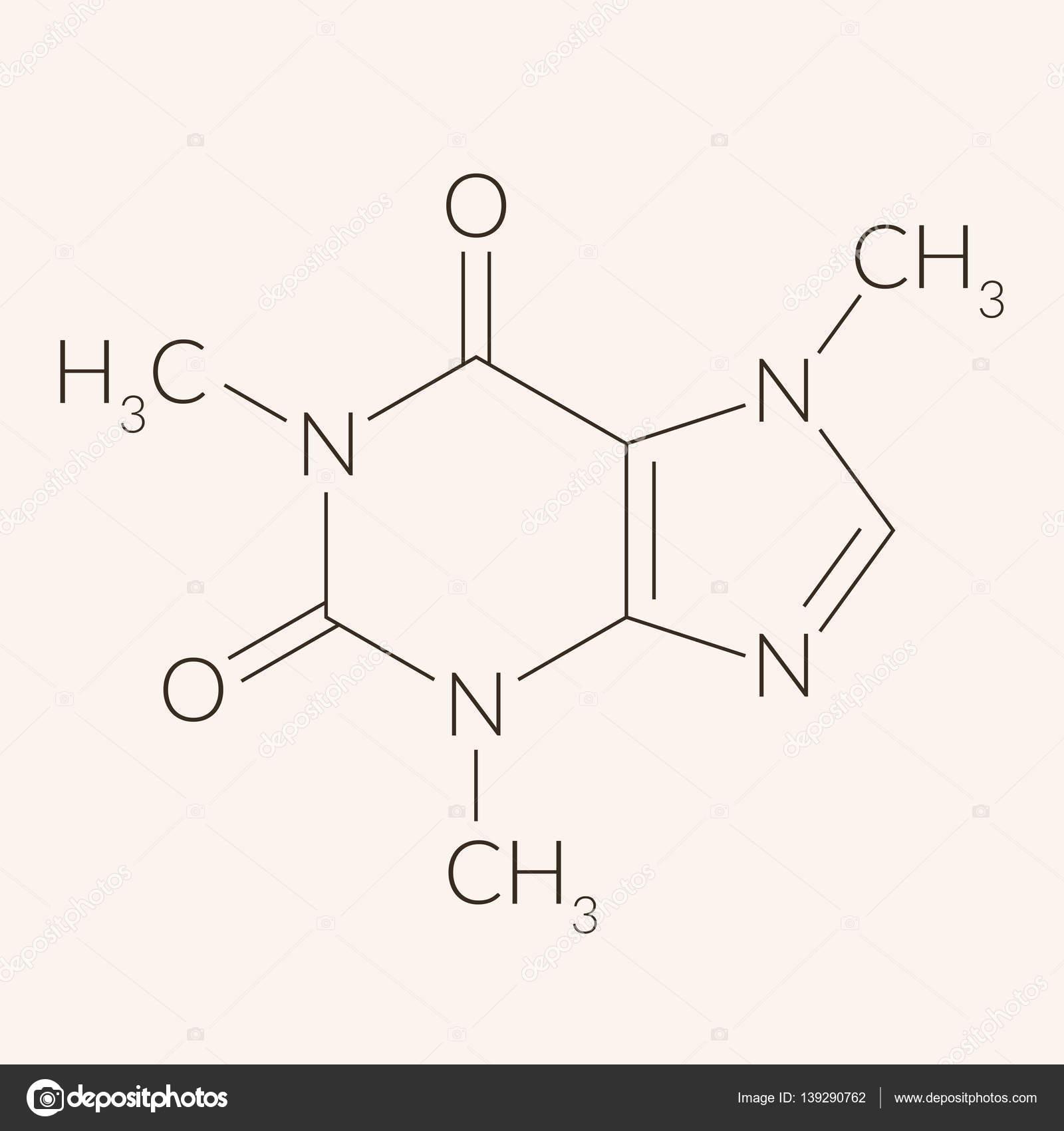 カフェイン分子の化学構造 — ス...