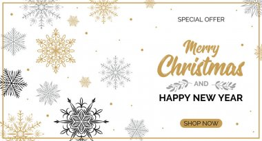 Horizontal Christmas and New Year sale banner with beautiful gol