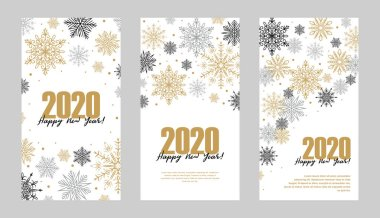 Set of vertical Christmas and New Year greeting card with beauti