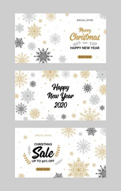 Set of horizontal Christmas and New Year greeting card with beau