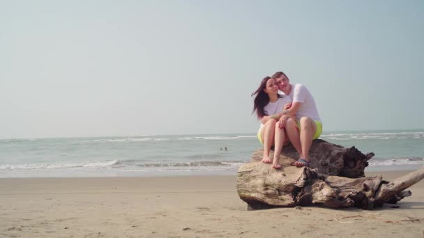 Happy couple sitting on driftwood near sea. Loving couple hugging and touching noses while sitting on driftwood during date on beach against waving sea and cloudless sky
