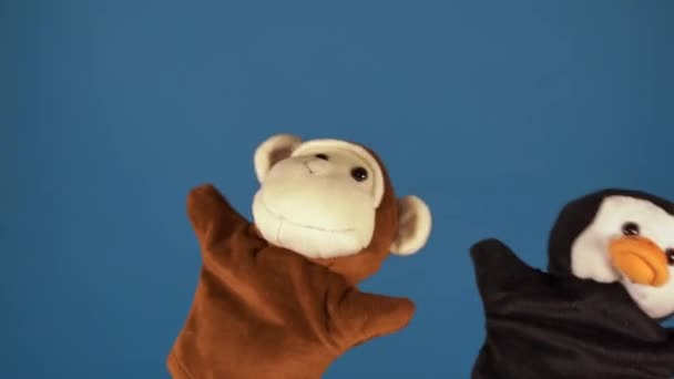 Měkké loutkové hračky na rukou na modrém pozadí. Koncept loutkového představení. Detailní záběr rukou s loutkovou opicí a tučňákem.
