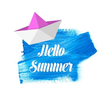 Hello summer lettering on blue stain