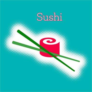 """Картина, постер, плакат, фотообои """"векторный суши-ролл с палочками для еды """", артикул 142219560"""