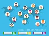 Vektorová mapa světa s avatary lidí