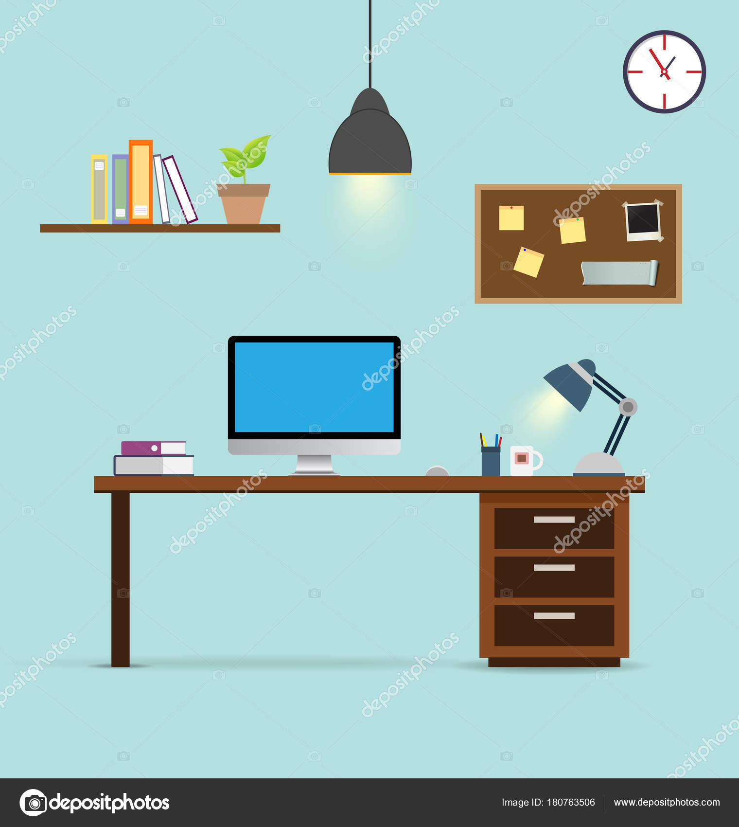 Workspace Office Background Vector Stock Vector C Minimax 180763506