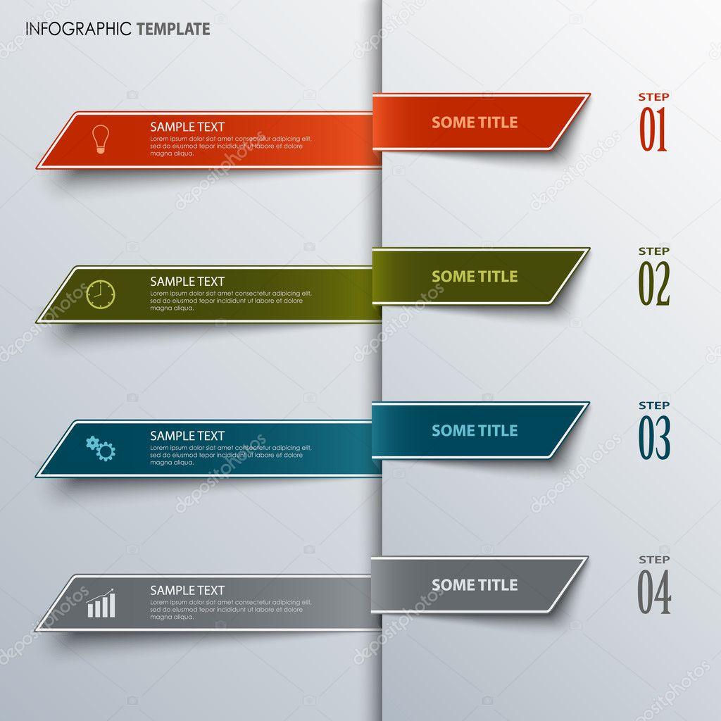 Info-Grafik mit Designvorlage bunte Lesezeichen — Stockvektor ...