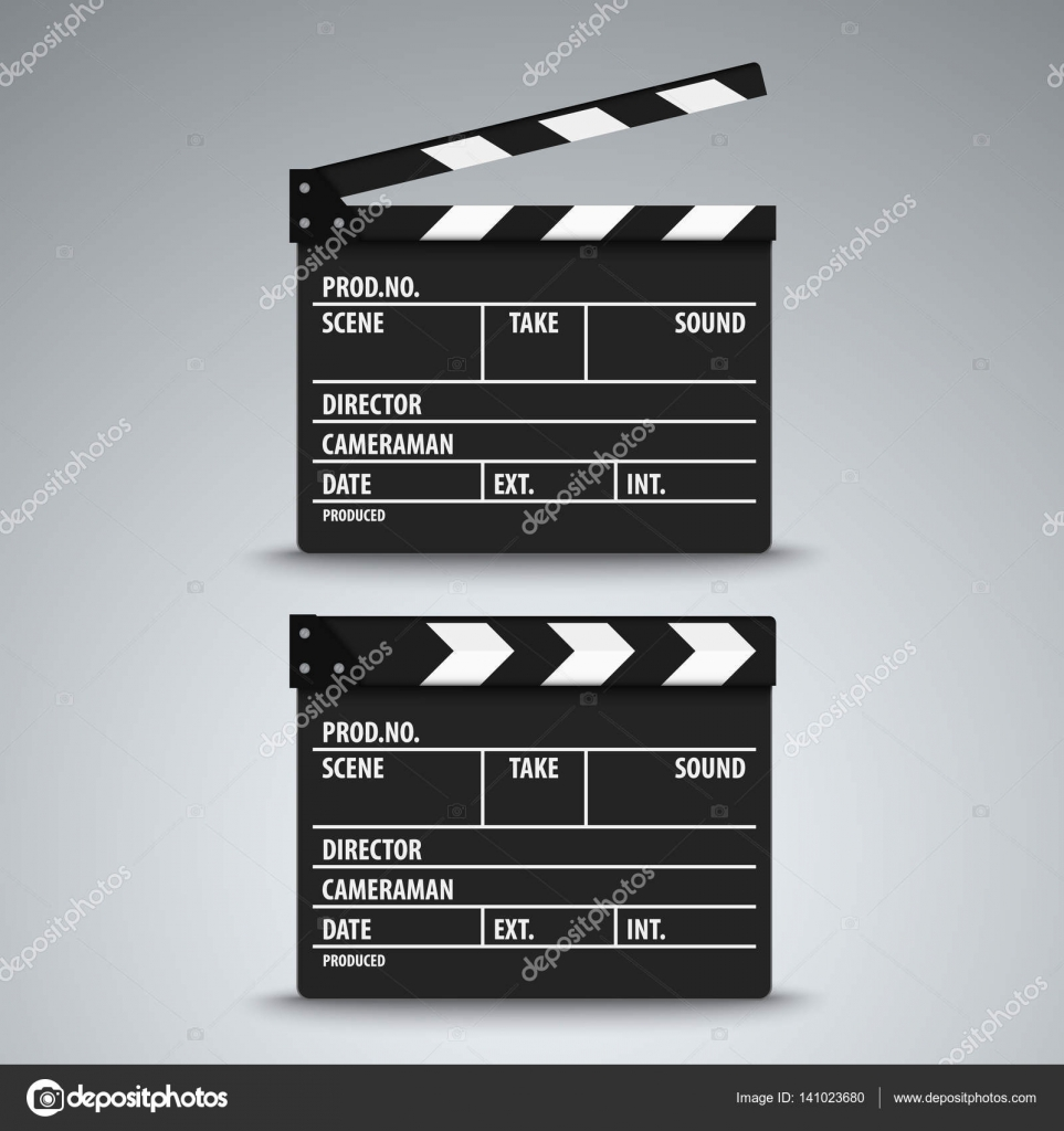 Offener und geschlossener Film Klappe Vorlage — Stockvektor ...
