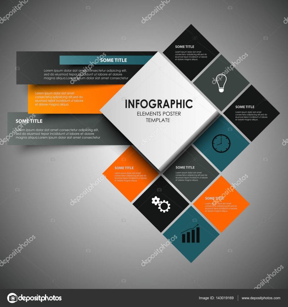 Info-Grafik mit abstrakten Design-Quadrate-Vorlage — Stockvektor ...