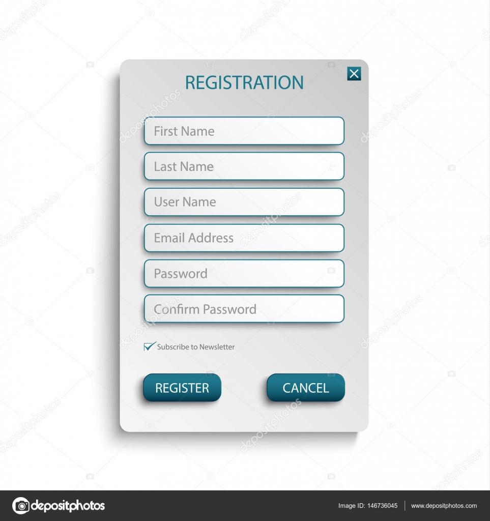 Web-Bildschirm mit atypischen Schaltflächen Vorlage registrieren ...